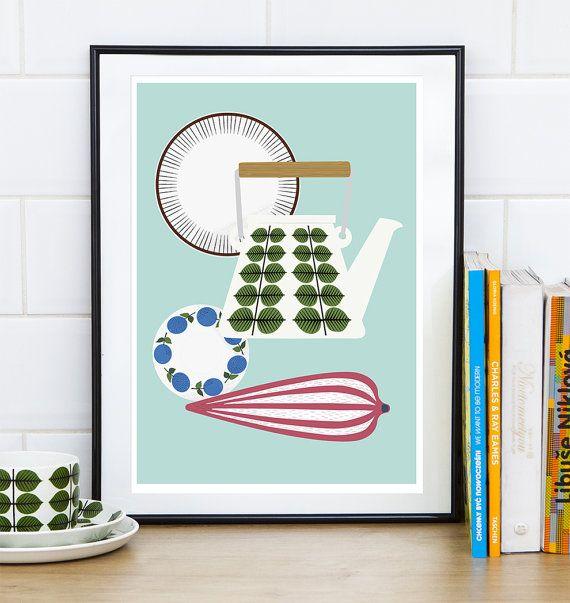 Art for kitchen, Scandinavian print, Kitchen poster, Retro Kitchen decor, teapot print, Mid century modern, Cooking art, Stig Lindberg,