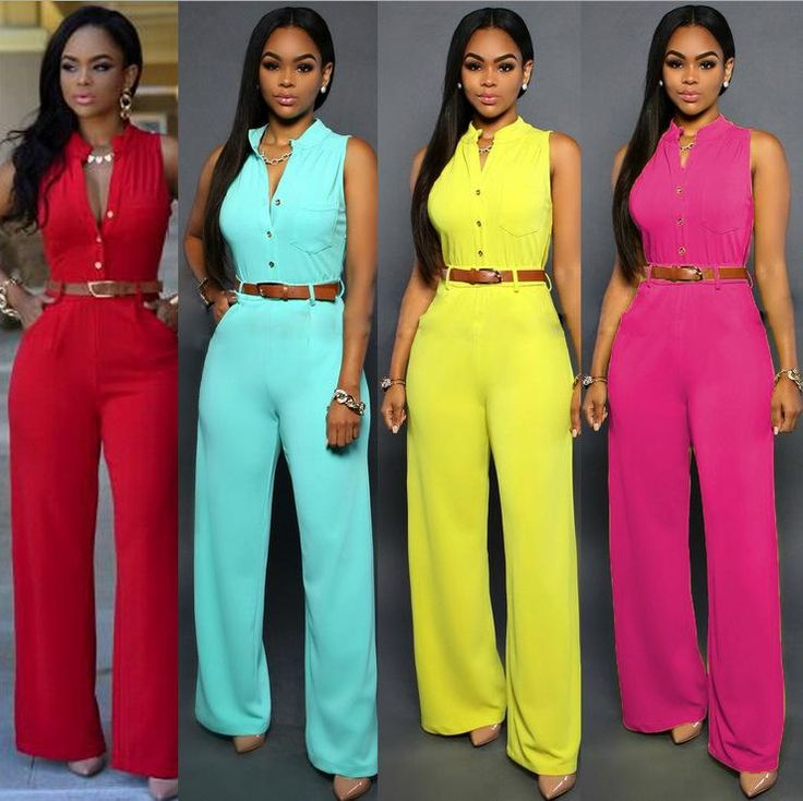 Women's Sexy Front Button High Waist Wide Leg Jumpsuits
