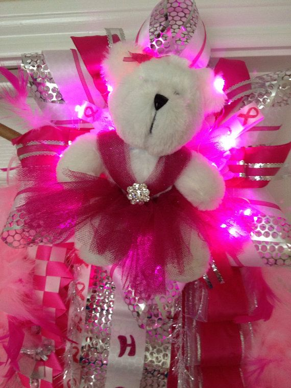 Pink Out Homecoming Mum with Lights  Ready To Ship by MumAMia3, $170.00