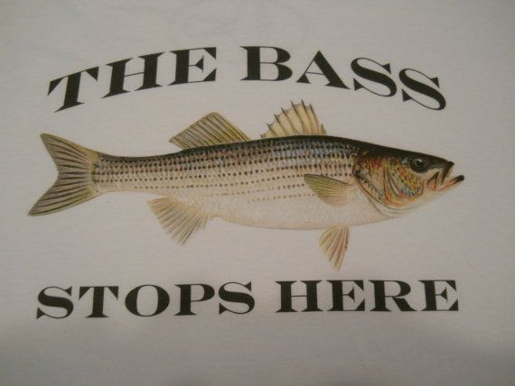 FORK LENGTH FASHION PRESENTS:    The Bass Stops Here fishing t-shirt, short sleeve in white.    This shirt is a quality 100 % ultra cotton pre shrunk