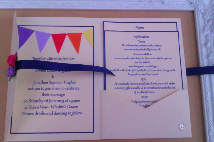 Bright bunting pocket wedding invitation