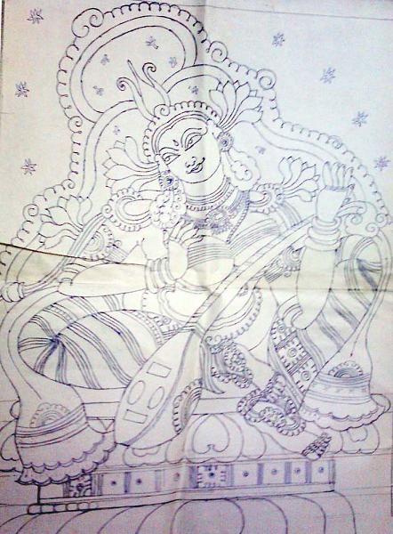 Indian Painting Styles...Kerala Mural Painting-3-mural-tracing-2-.jpg