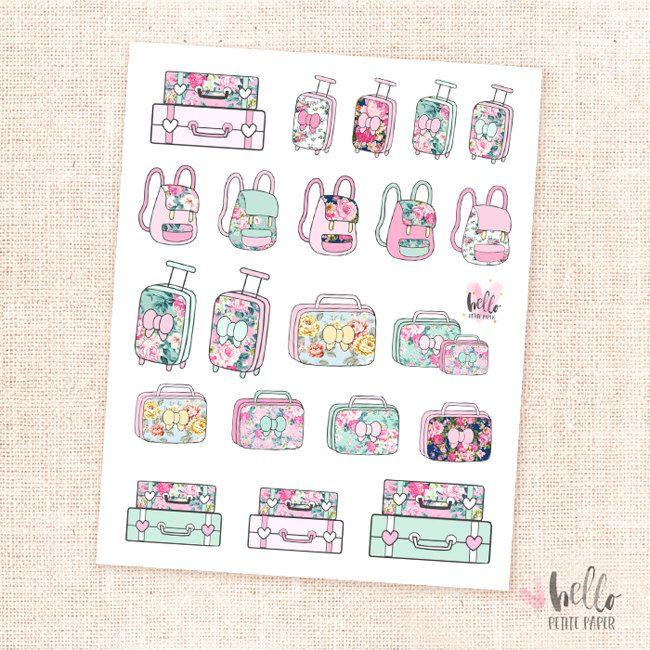Luggage stickers - 21 planner stickers / bags, carry-on,luggage, backpack stickers by HelloPetitePaper on Etsy https://www.etsy.com/listing/399174697/luggage-stickers-21-planner-stickers