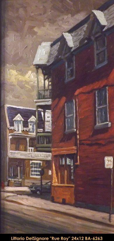Original oil painting on canevas by Littorio Del Signore #Littoriodelsignore #artist #canadianartist #quebecartist #art #fineart #figurativeart #originalpainting #oilpainting #winterscene #cityscene #houses #balcondart #multiart