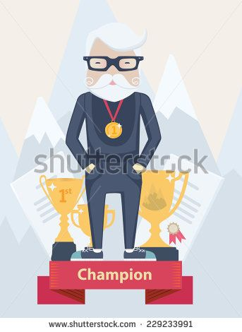 Vector cartoon old man champion in sport wearing a first place gold medal standing on a winners podium with certificates and golden award trophies against a backdrop of snow-capped mountain peaks - stock vector