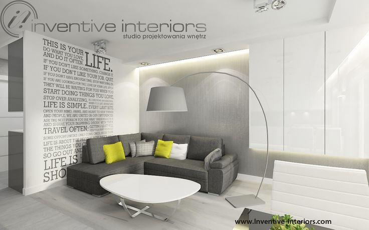 Projekt salonu Inventive Interiors - Szary narożnik w nowoczesnym salonie