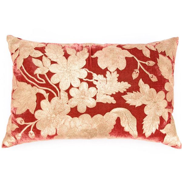 Anke Drechsel floral-embroidered velvet pillow (15 770 ZAR) ❤ liked on Polyvore featuring home, home decor, throw pillows, red, floral toss pillow, red accent pillows, red toss pillows, floral home decor and flowered throw pillows