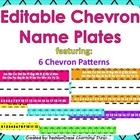 Editable Chevron Patterned Name Plates with Alphabet and Numbers - Fashion Craze Learning Days