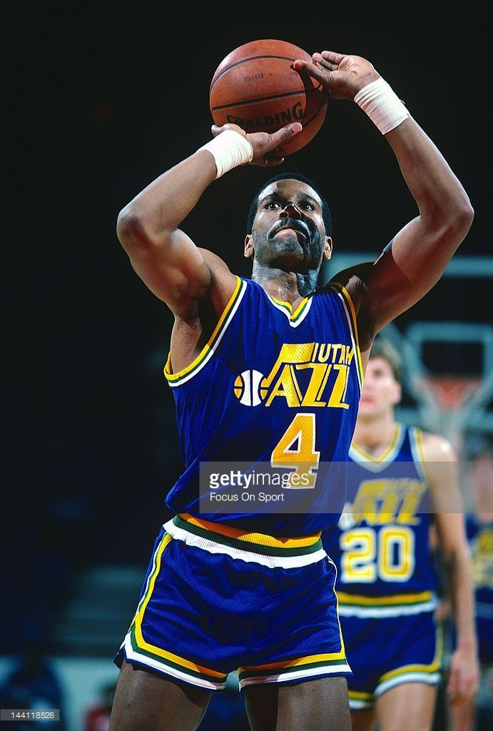 ... jersey retirement  Adrian Dantley 4 of the Utah Jazz shoots a  free-throw against the Washington Bullets 6d611e0fa