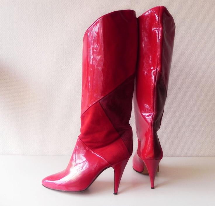 Biondini sexy rode lak high heels laarzen (1621) #vintage #boots
