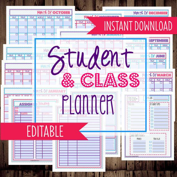 Student Planner-College Planner, Homework Planner, Organizer-17 Sheets-Dots-INSTANT DOWNLOAD & EDITABLE