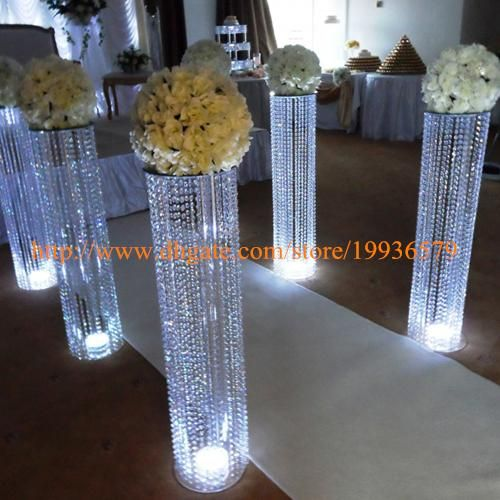 3fttall acrylic wedding decoration crystal walkway pillars pedestals columns wedding decore white wedding decorations from