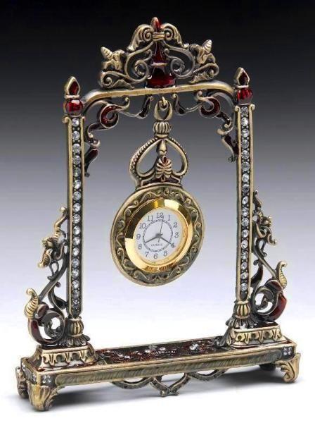 Victorian Style Pendulum Jeweled Clock.
