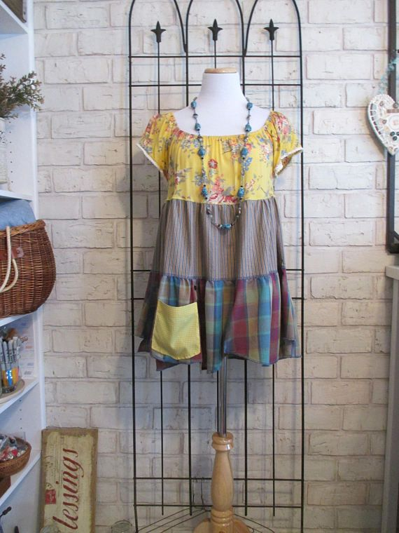 Women's upcycled, repurposed, eco-friendly top, small to medium, shabby chic boho junk gypsy artsy lagenlook colorful trendy