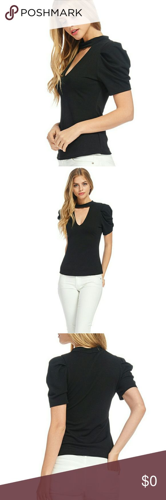 * NEW* Puffed Sleeve Choker top Black colored open neck choker top, puffed sleeves, textured polyester spandex material,very figure flattering and stretchy. Runs true to size. Tops Blouses
