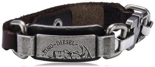Diesel Herren-Armband Edelstahl Militär Leder schwarz DX0652040: Amazon.de: Schmuck