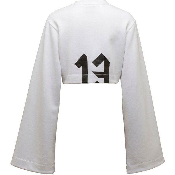 FENTY PUMA by Rihanna Cropped Kimono Sweatshirt, Puma White ($3,000) ❤ liked on Polyvore featuring tops, hoodies, sweatshirts, white kimono top, white sweatshirt, cut-out crop tops, white top and puma sweatshirt