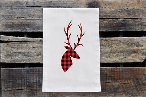 Check out this item in my Etsy shop https://www.etsy.com/ca/listing/553398224/plaid-deer-silhouette-tea-towel