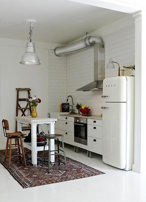 small kitchen, white subway tiles