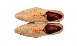 Oranje cork herenschoen met rode zool