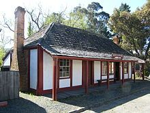Rhoden's Halfway House, Old Gippstown, built in 1863 at Pakenham for the Cobb & Co Gippsland route