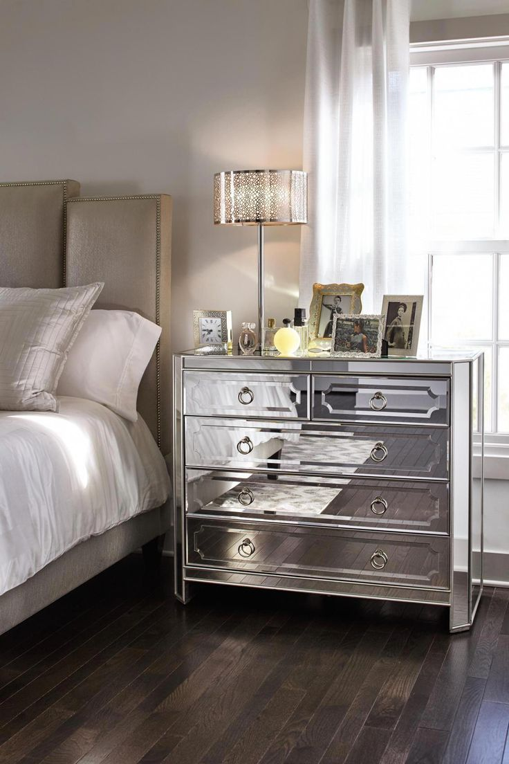 Harlow Bedside Chest Mirrored bedroom furniture