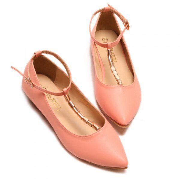 Stylish TStrap and Metallic Design Womens Flat Shoes