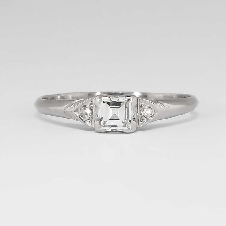 Elegant Understated 1940's .30ct t.w. Square Emerald Cut Diamond Engagement Ring Platinum | Antique & Estate Jewelry | Jewelry Finds