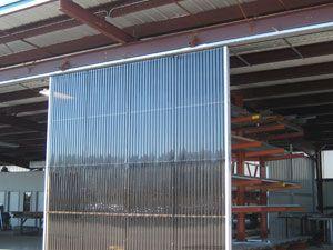 corruaged greca polycarbonate sliding door application