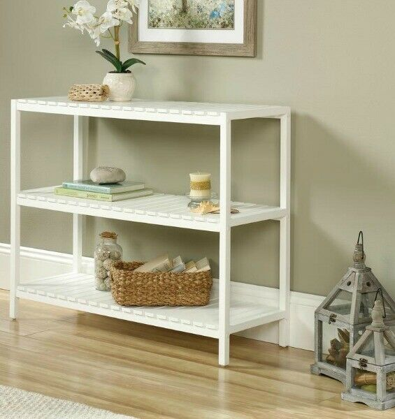 White Console Table Coastal Cottage Sofa Entry 3 Tier Slatted Design Living Room Tinyshamrockusa Coastal White Console Table Living Room Designs Cottage Sofa