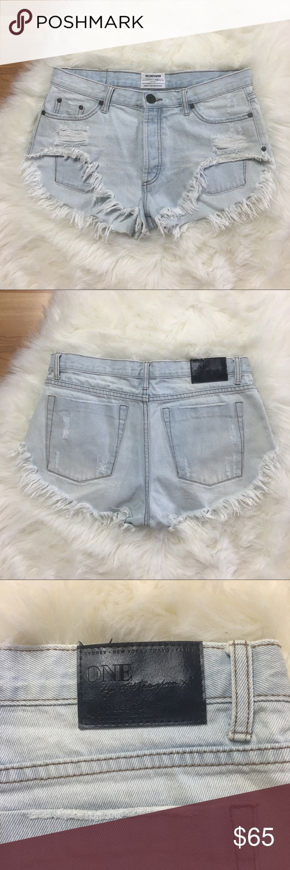 One Teaspoon Light Wash Denim Roller Shorts ONE X One Teaspoon Rollers Low Waist   Long Rise Extreme Curved Raw Hem  ✨Great condition! See pictures. ✨100% Cotton 🚫No Trades One Teaspoon Shorts Jean Shorts