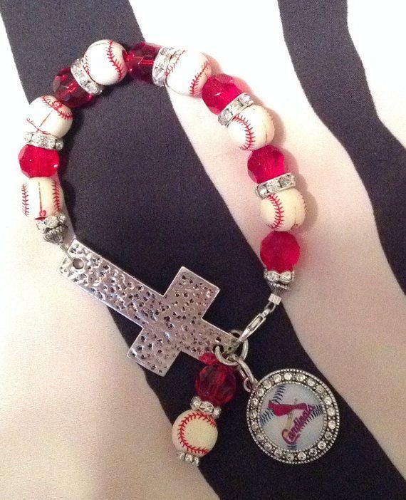 St. Louis Cardinals Baseball Cross Bracelet by SassyGirlsX3, $10.95