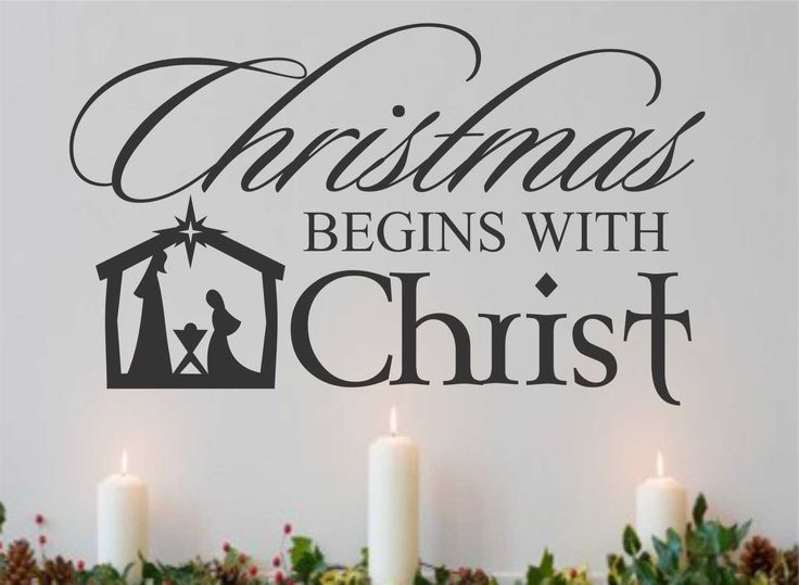 Religious Vinyl Wall Lettering Christmas begins with Christ Nativity Scene Decoration Quote