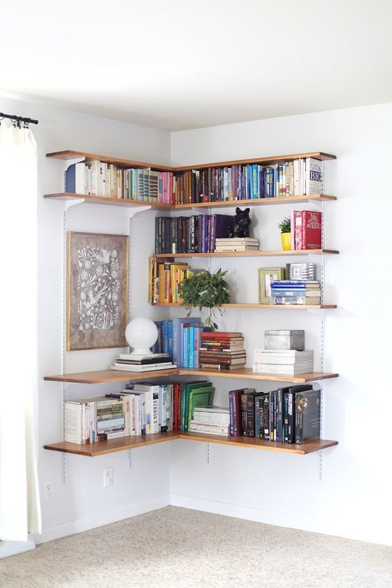 A great way to fit an interesting book shelf into a small space - Unique DIY Bookshelf Ideas For Book Lovers