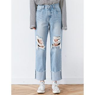 Buy FROMBEGINNING Distressed Straight-Cut Jeans at YesStyle.com! Quality products at remarkable prices. FREE WORLDWIDE SHIPPING on orders over US$ 35.