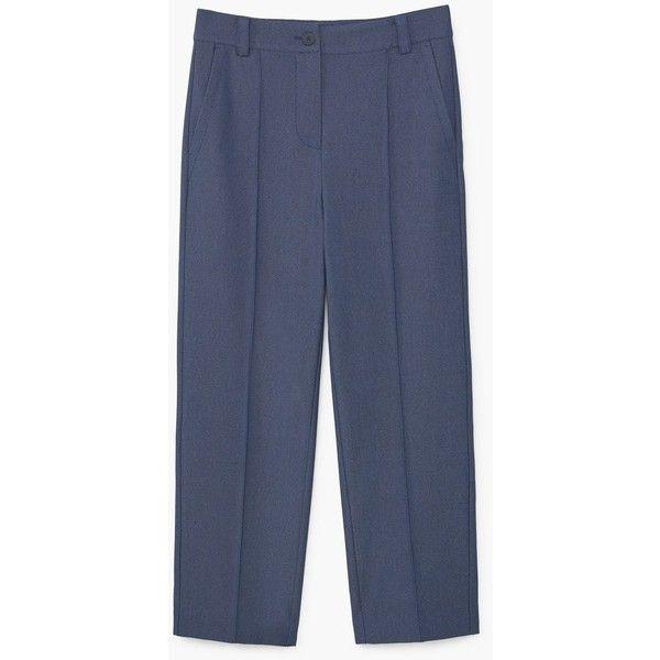 MANGO Suit cropped trousers (2 105 UAH) via Polyvore featuring pants, capris, straight pants, button pants, zip pants, cotton pants and blue pants