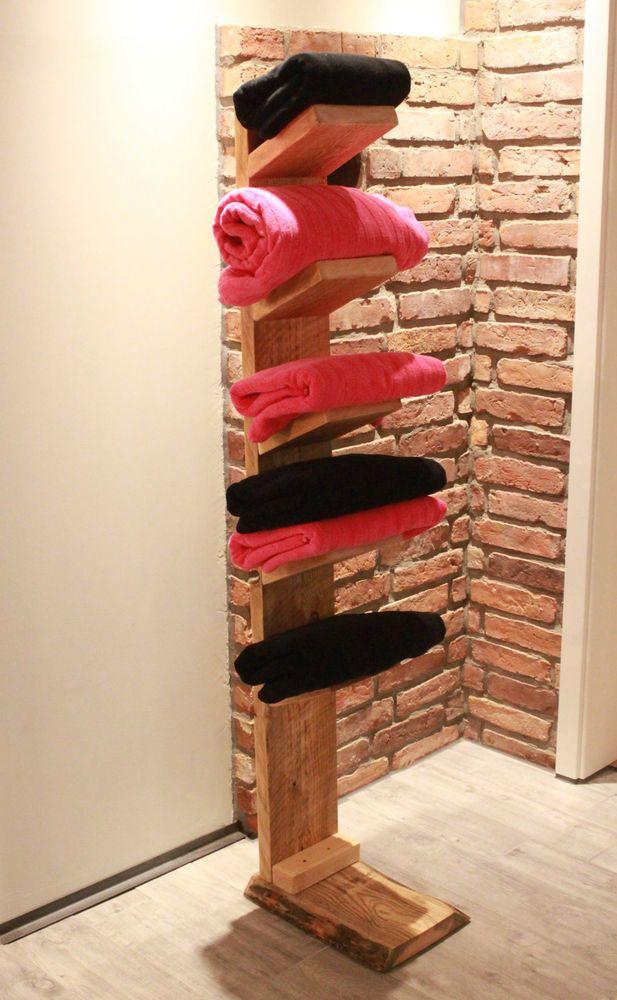 Handtuchleiter aus Massivholz Handtuchhalter Bad Regal Handtuch Halter stehend   eBay