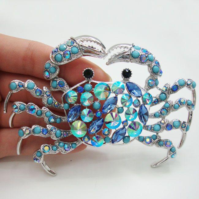 Aliexpress.com: Koop Elegante Zilveren Tone Krab Broche Pin Blauw Rhinestone Crystal Vrouw Sieraden van betrouwbare sieraden lade leveranciers op TTjewelry