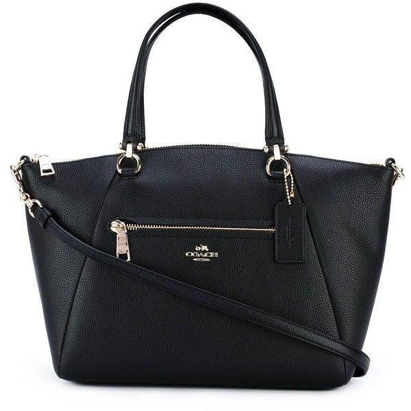 Coach medium detachable strap tote (21.515 RUB) ❤ liked on Polyvore featuring bags, handbags, tote bags, black, genuine leather purse, handbags totes, tote purses, genuine leather handbags and leather purses