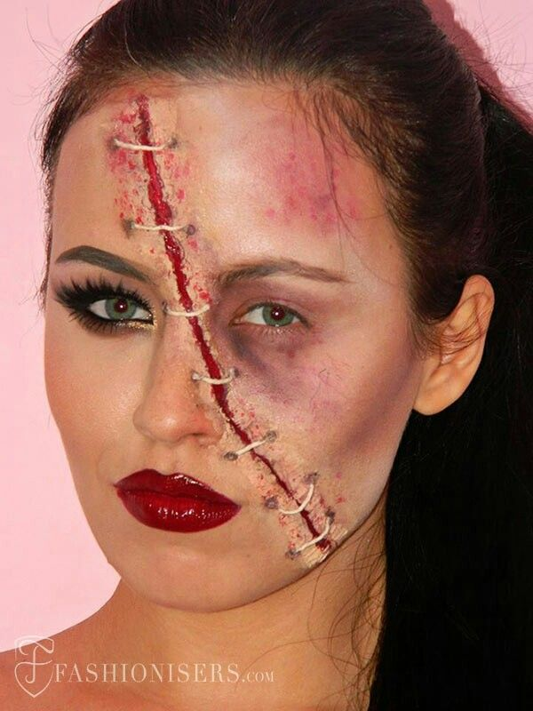 Face Wound Stitches Half Glam Halloween