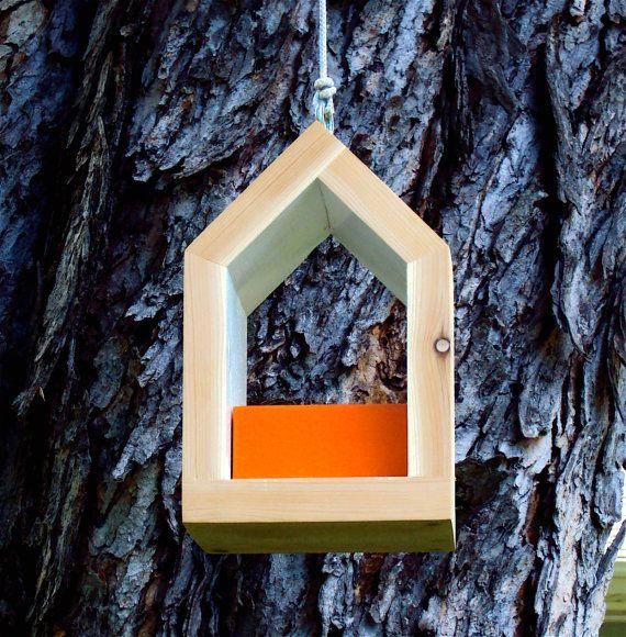 Rustic Scandinavian Modern Bird Feeding Vessel in Knoll Orange