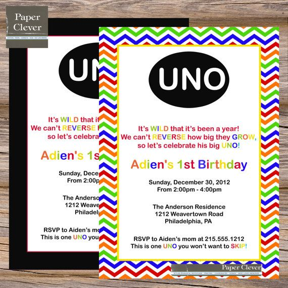 225 best images about UNO Birthday – Clever Party Invitations