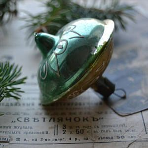 Vintage Christmas ornament, Blue Green,Soviet Christmas ornament, vintage glass ornament, retro Christmas decor, rare vintage glass ornament