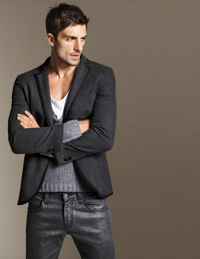 Love the shades of gray layered look...men's casual wear