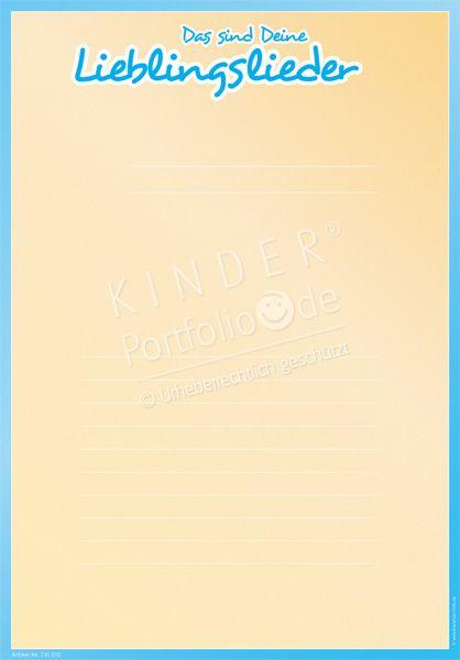 """Kindergarten Portfolio Vorlage """"Das sind deine Lieblingslieder"""""""