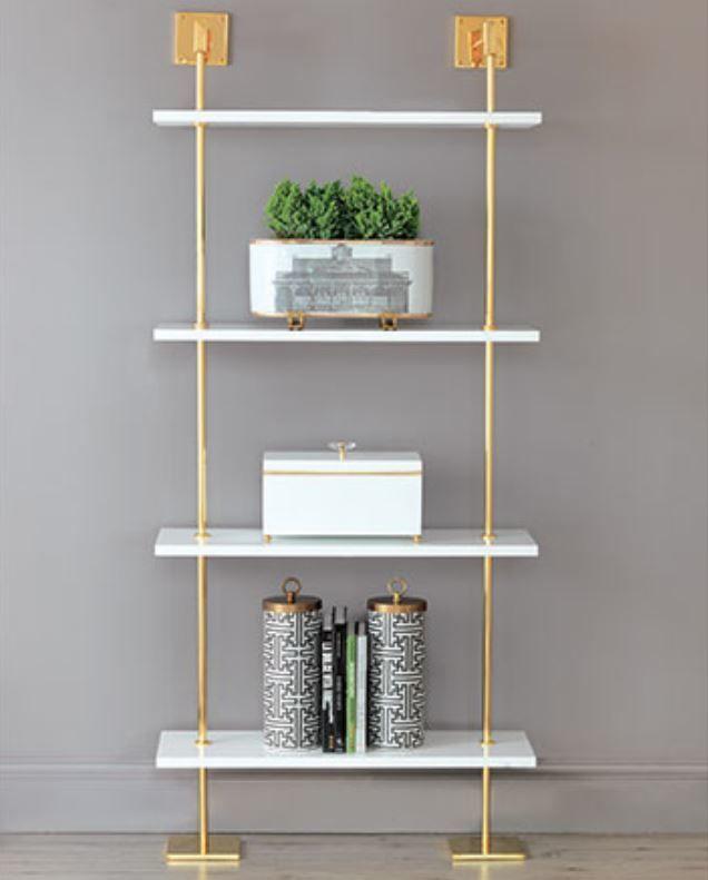 Port 68 Marais 3 Tier White Gold Shelf Gold Shelves Modern