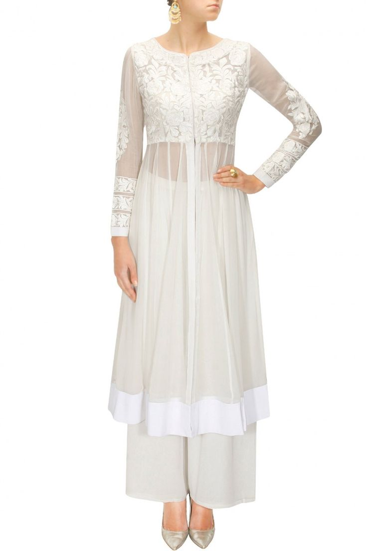 BHAAVYA BHATNAGAR White thread embroidered jacket with palazzo pants available only at Pernia's Pop-Up Shop.