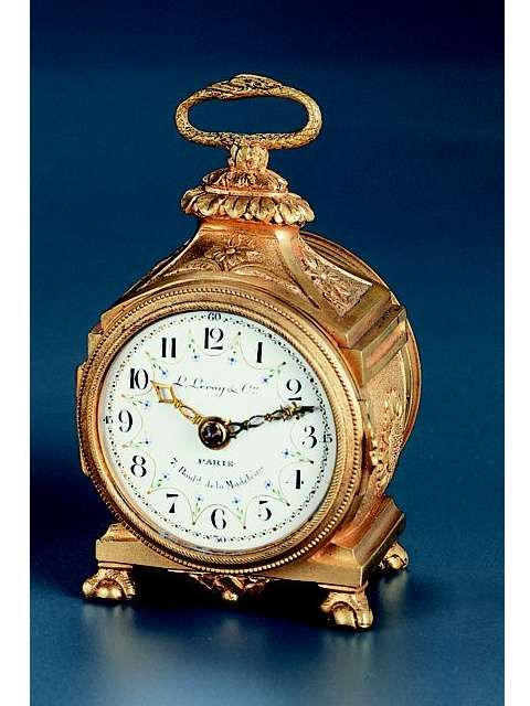 Eight-day going small table clock designed as a Pendule d'Officier. L. Leroy & Cie., Paris, circa 1880.