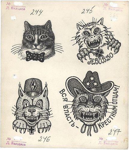 "Russian criminal ""cat thief"" tattoo designs                                                                                                                                                                                 More"