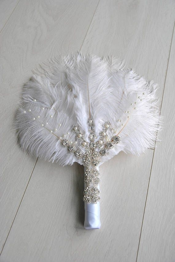 Bridal Alternative Ostrich Feather Fan Bridal Bouquet Great Etsy Feather Bouquet Wedding Fans Hand Fans For Wedding